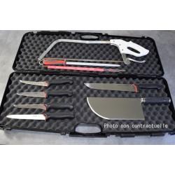 Valise Chasseur / Boucher 5 couteaux, fusil, feuille et scie ProCouteaux