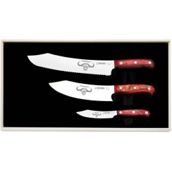 Couteau d'office 10 cm + Chef 20cm + couteau à pain - Premium Cut - Diamant Rouge
