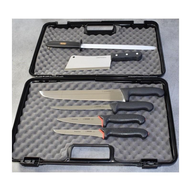 Valise / Mallette de chasseur / boucher PRO 4 couteaux Giesser, fusil et feuille. Livraison OFFERTE*
