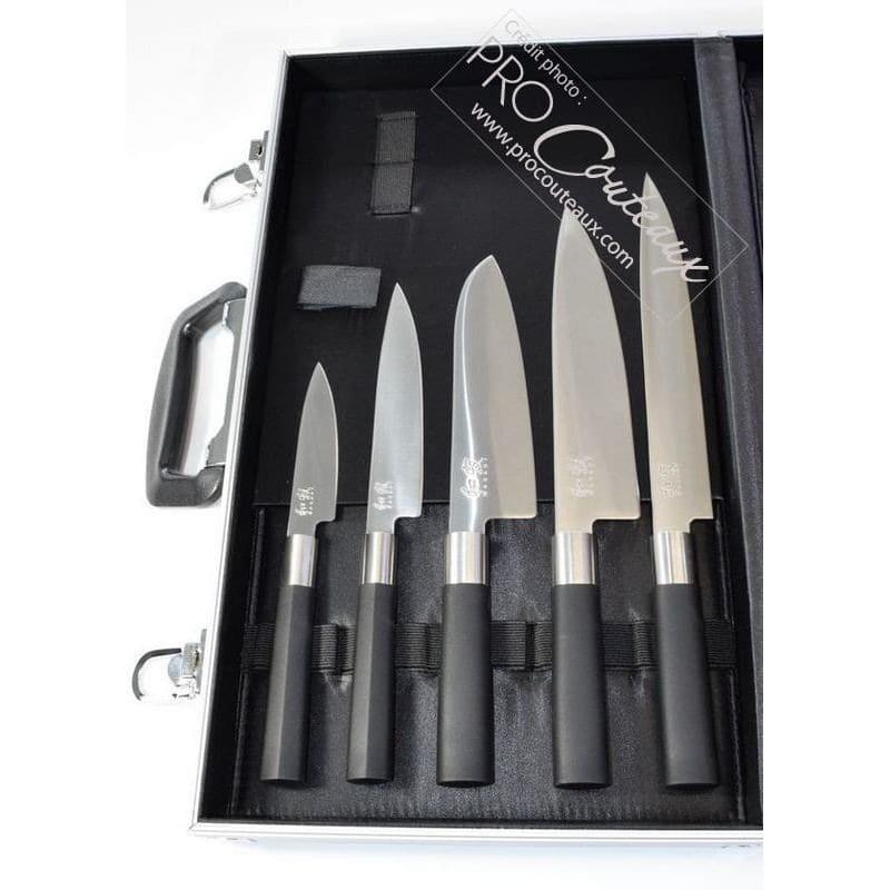 Mallette Chef Alu Couteaux Japonais KAI Wasabi Black 9 pièces ProCouteaux