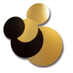 Carton double-face or / noir rond diamètre 24 cm - lot de 10 pièces