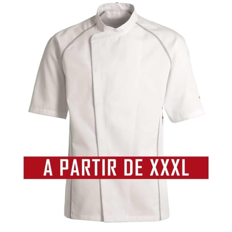 Veste de cuisine KENTAUR - Teddy - Manches courtes - BLANC - GRANDE TAILLE