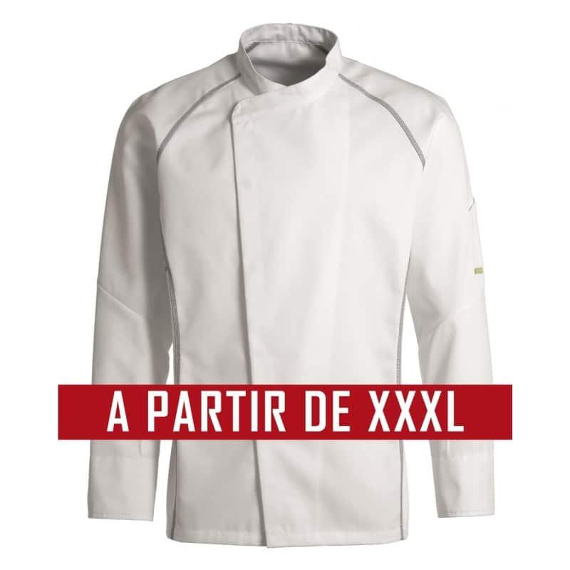 Veste de cuisine KENTAUR - Teddy - Manches longues - BLANC - GRANDE TAILLE