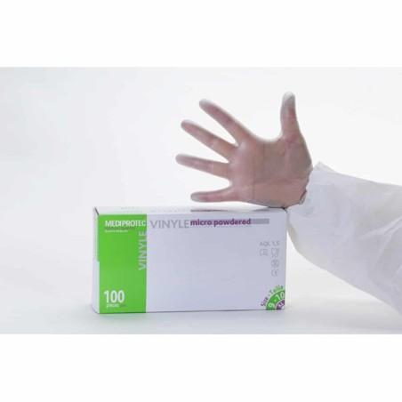 Gant vinyle naturel poudré - Boite de 100  - Large