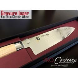 Couteaux Kai Shun Classic White gravés au laser