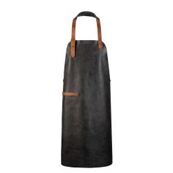 Tablier - cuir véritable - personnalisable - NOIR