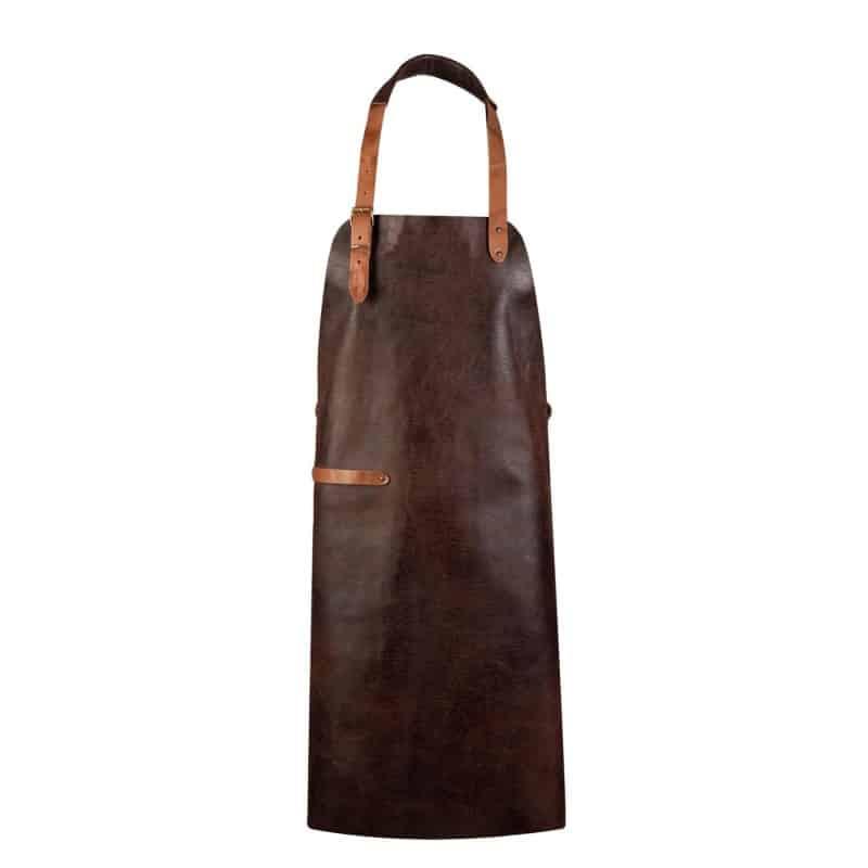 Tablier - cuir véritable - personnalisable - MARRON