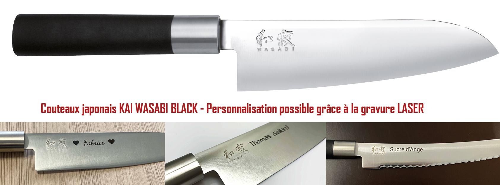 Collections de couteaux japonais kai wasabi black gravés